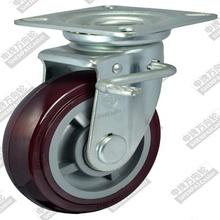 4 inch flat bottom movable brake plastic core polyurethane wheel