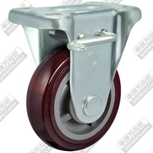 4 Inch Flat Bottom Fixed Brake Plastic Core Polyurethane Wheel
