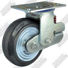5 inch flat bottom movable iron core rubber wheel